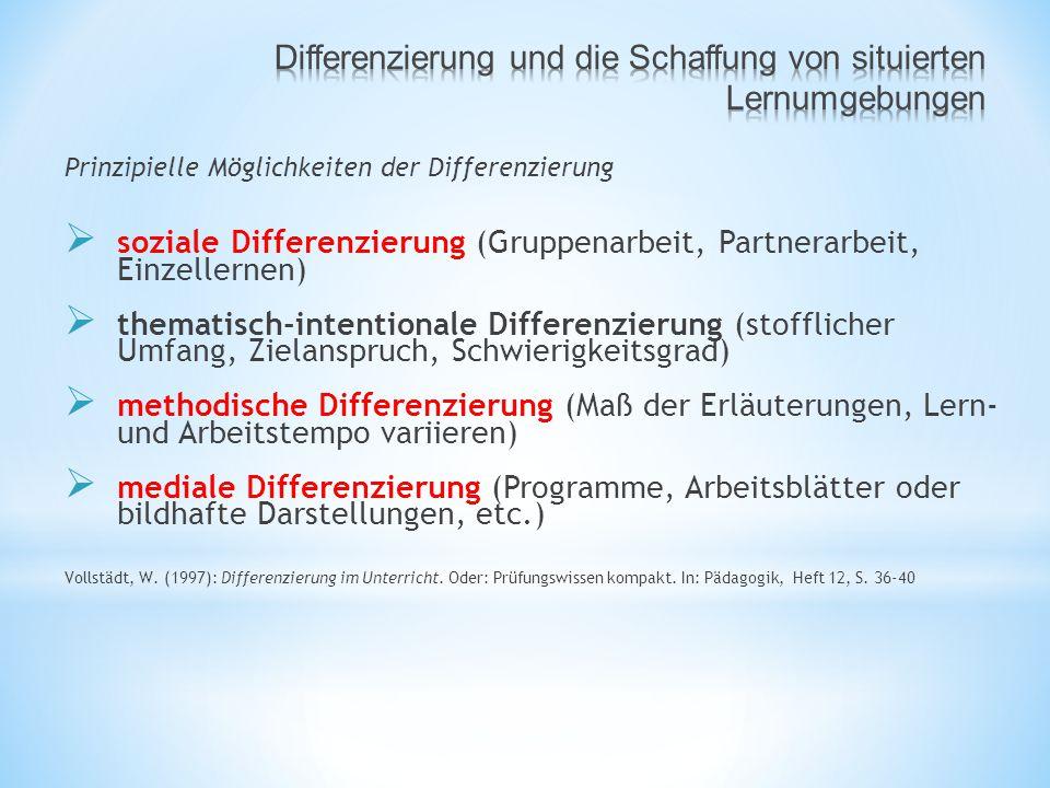Differenzierung und die Schaffung von situierten Lernumgebungen