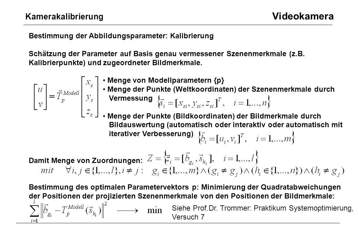 Kamerakalibrierung Videokamera