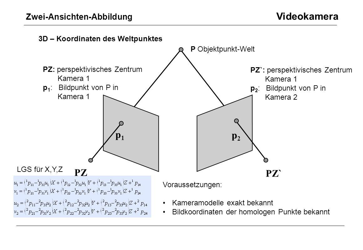 p1 p2 PZ PZ` Zwei-Ansichten-Abbildung Videokamera