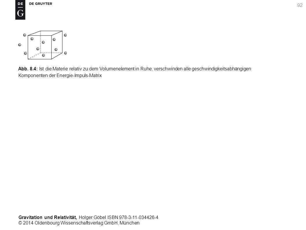 Abb. 8.4: Ist die Materie relativ zu dem Volumenelement in Ruhe, verschwinden alle geschwindigkeitsabhängigen