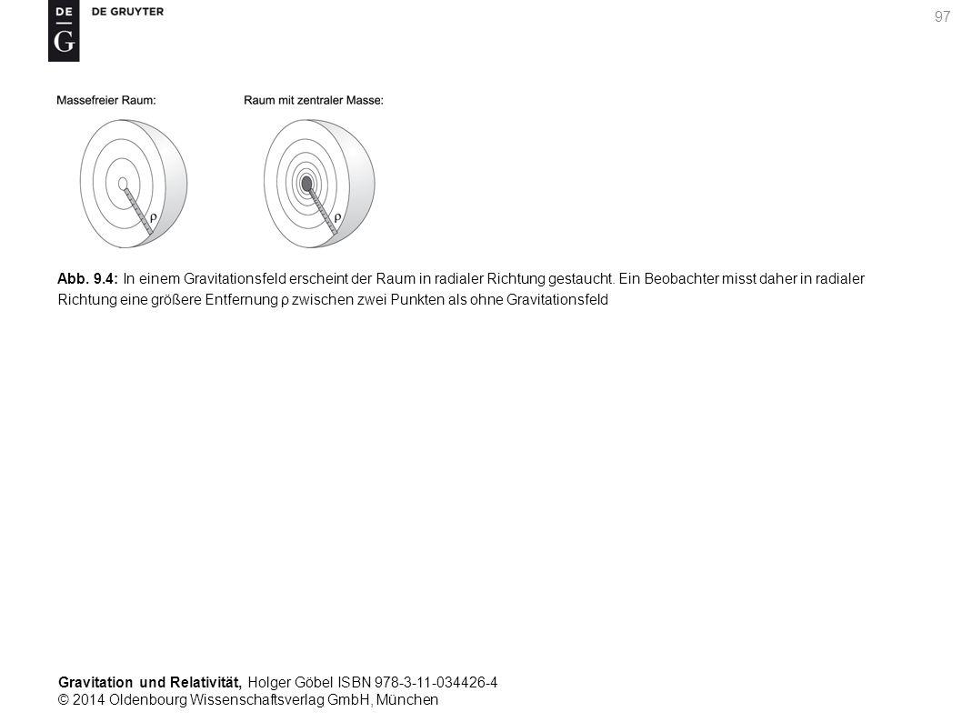 Abb. 9.4: In einem Gravitationsfeld erscheint der Raum in radialer Richtung gestaucht.