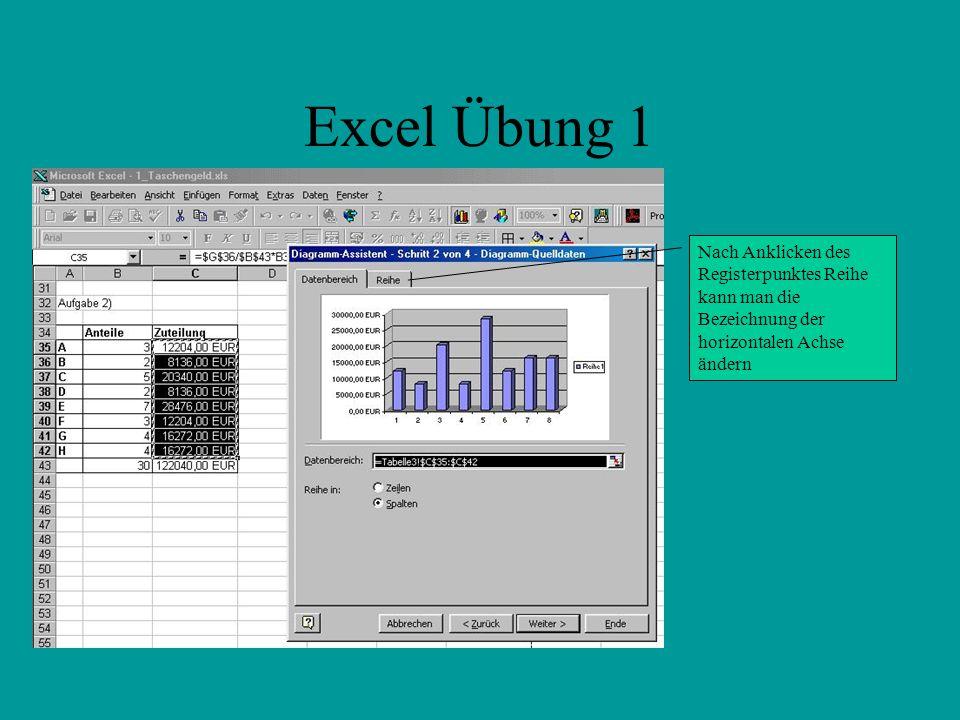 Excel Übung 1 Nach Anklicken des Registerpunktes Reihe kann man die Bezeichnung der horizontalen Achse ändern.