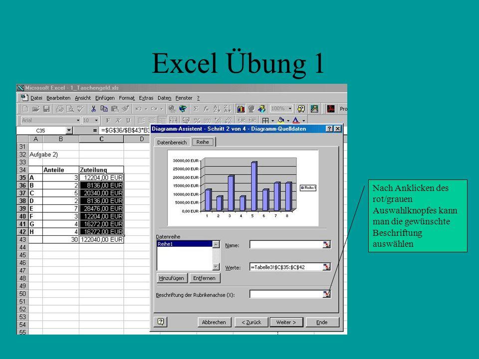 Excel Übung 1 Nach Anklicken des rot/grauen Auswahlknopfes kann man die gewünschte Beschriftung auswählen.
