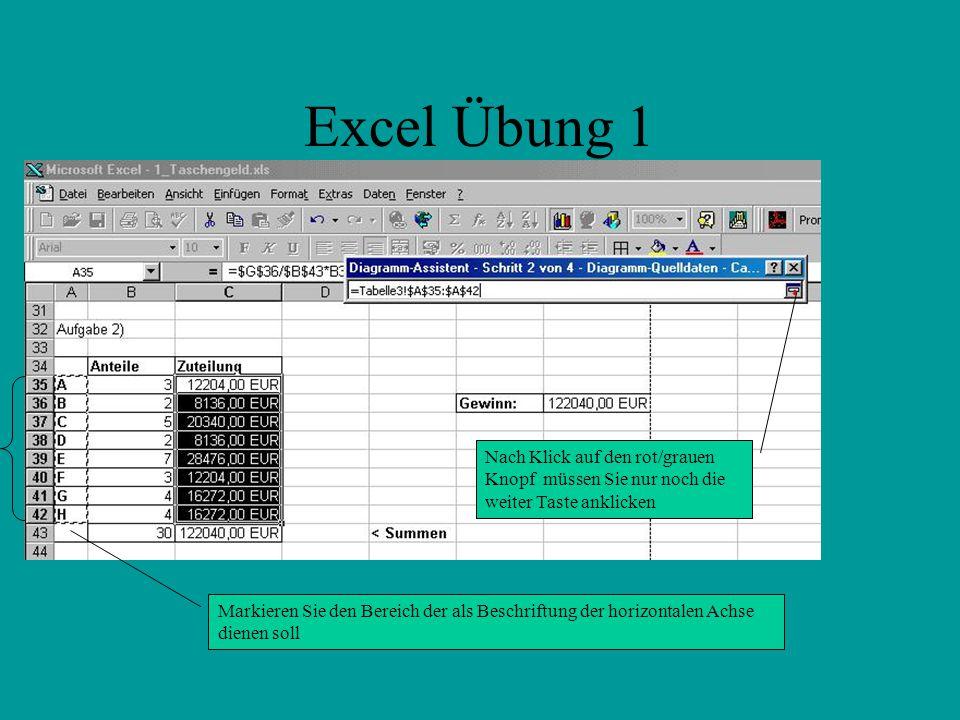 Excel Übung 1 Nach Klick auf den rot/grauen Knopf müssen Sie nur noch die weiter Taste anklicken.