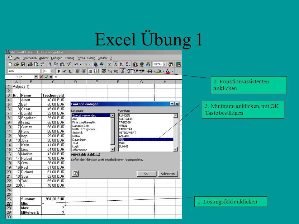 Excel Übung 1 2. Funktionsassistenten anklicken