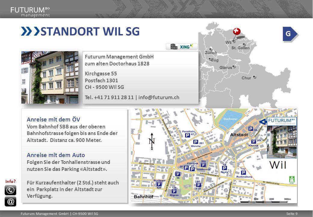 STANDORT WIL SG G Anreise mit dem ÖV Anreise mit dem Auto