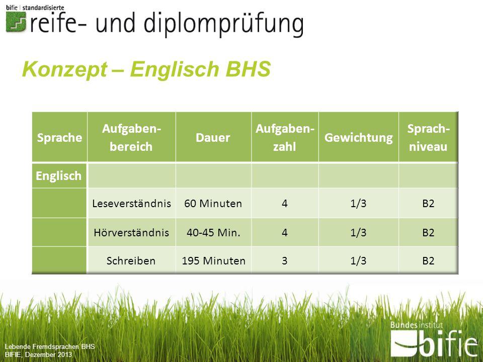 Konzept – Englisch BHS Sprache Aufgaben- bereich Dauer zahl Gewichtung