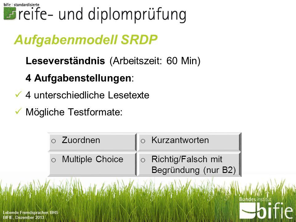Aufgabenmodell SRDP Leseverständnis (Arbeitszeit: 60 Min)