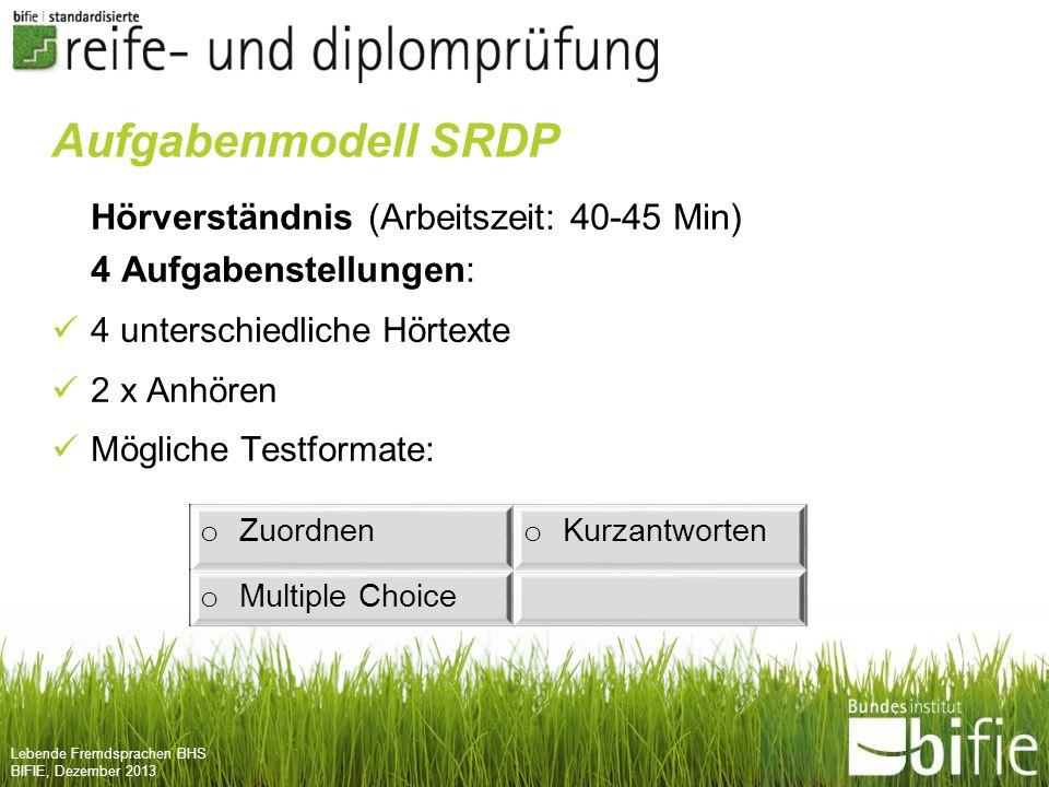 Aufgabenmodell SRDP Hörverständnis (Arbeitszeit: 40-45 Min)