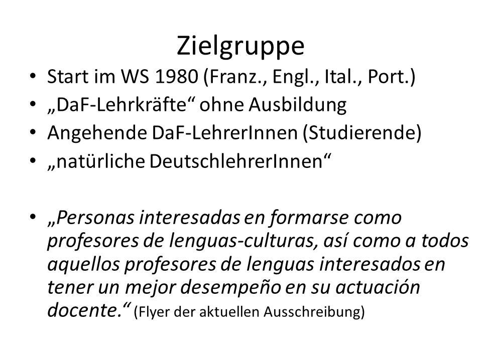 Zielgruppe Start im WS 1980 (Franz., Engl., Ital., Port.)