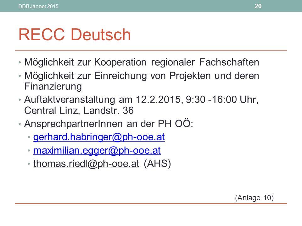 RECC Deutsch Möglichkeit zur Kooperation regionaler Fachschaften