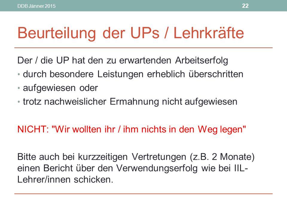 Beurteilung der UPs / Lehrkräfte