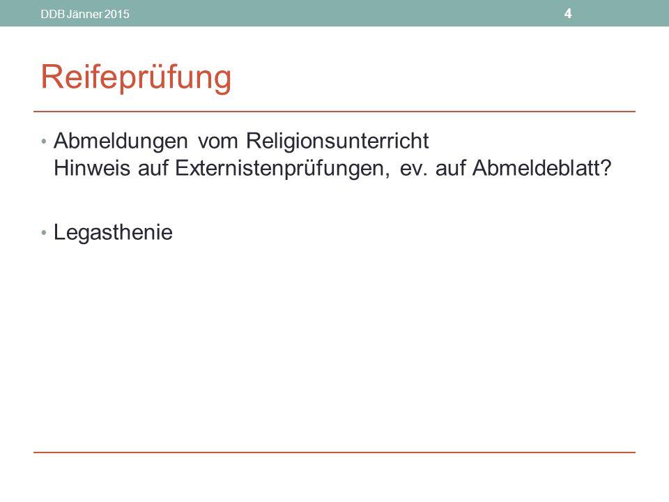 DDB Jänner 2015 4. Reifeprüfung. Abmeldungen vom Religionsunterricht Hinweis auf Externistenprüfungen, ev. auf Abmeldeblatt
