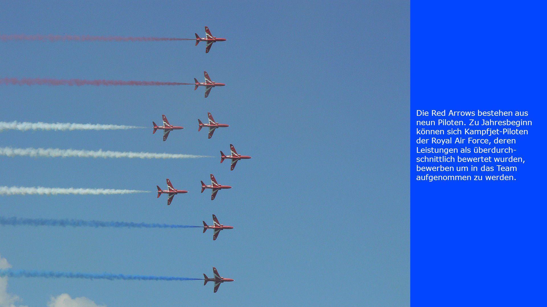 Die Red Arrows bestehen aus neun Piloten