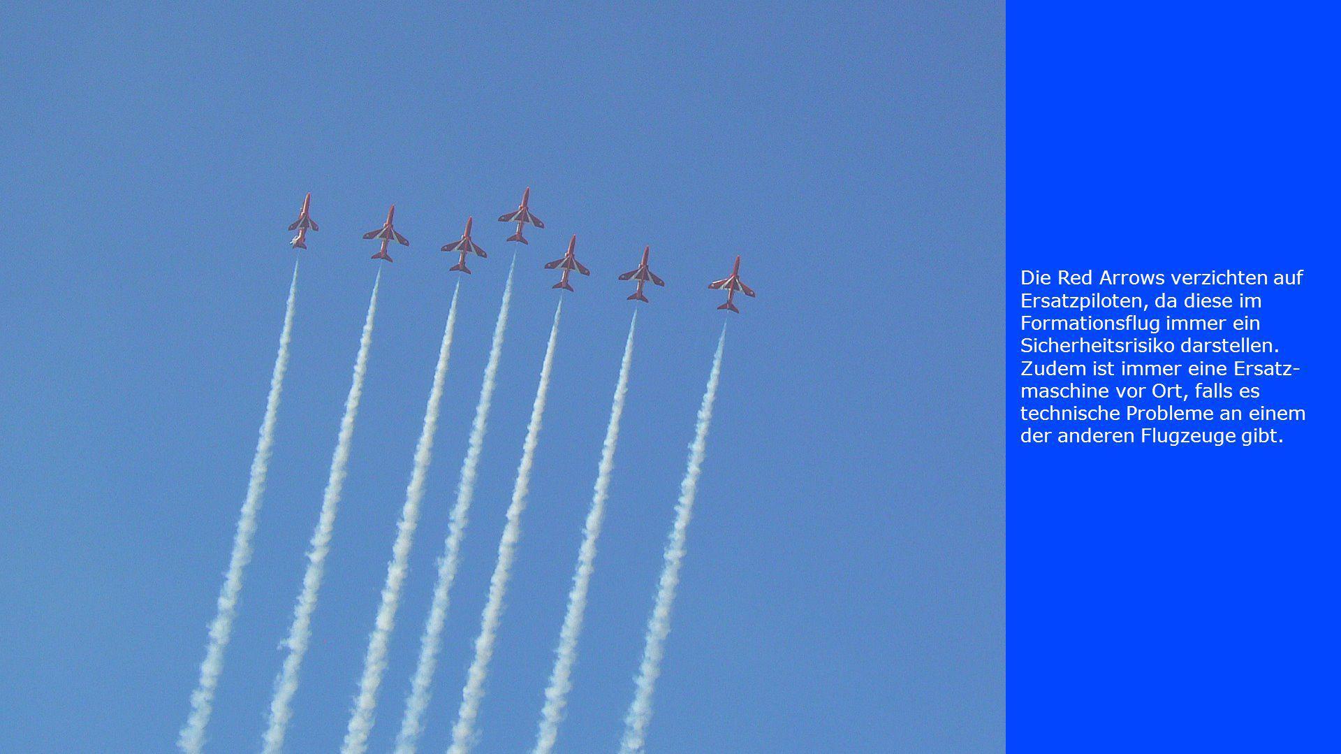Die Red Arrows verzichten auf Ersatzpiloten, da diese im Formationsflug immer ein Sicherheitsrisiko darstellen.