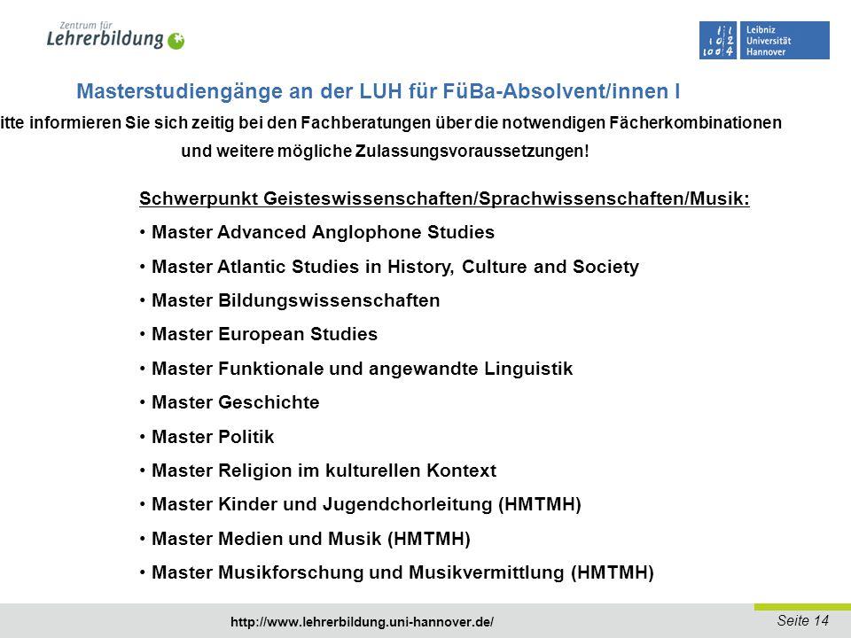 Masterstudiengänge an der LUH für FüBa-Absolvent/innen I