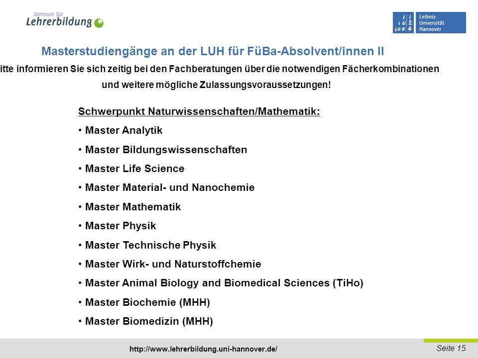 Masterstudiengänge an der LUH für FüBa-Absolvent/innen II