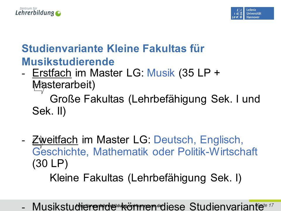 Studienvariante Kleine Fakultas für Musikstudierende