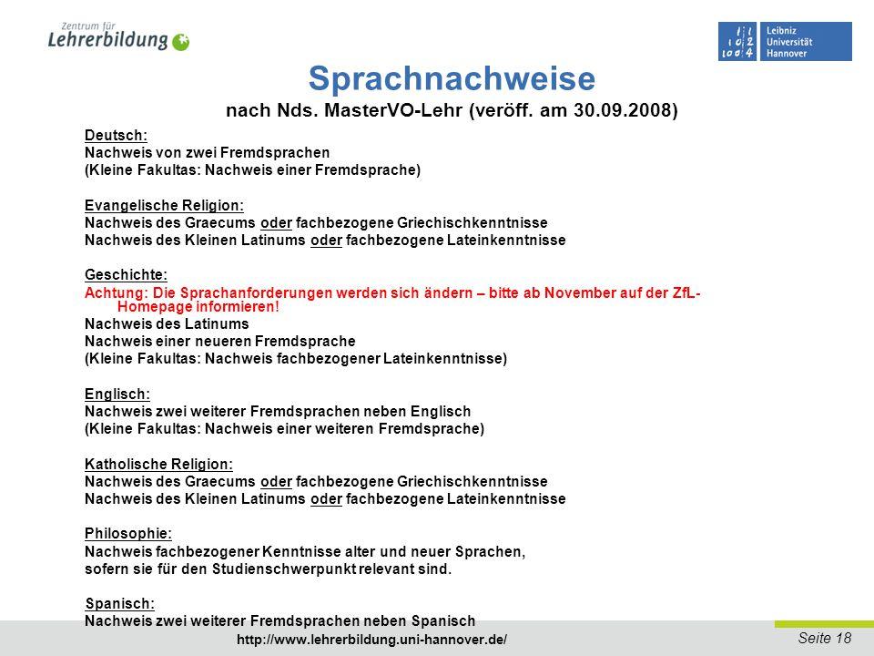 Sprachnachweise nach Nds. MasterVO-Lehr (veröff. am 30.09.2008)