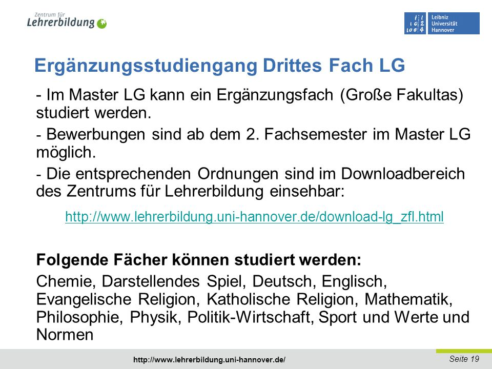 Ergänzungsstudiengang Drittes Fach LG