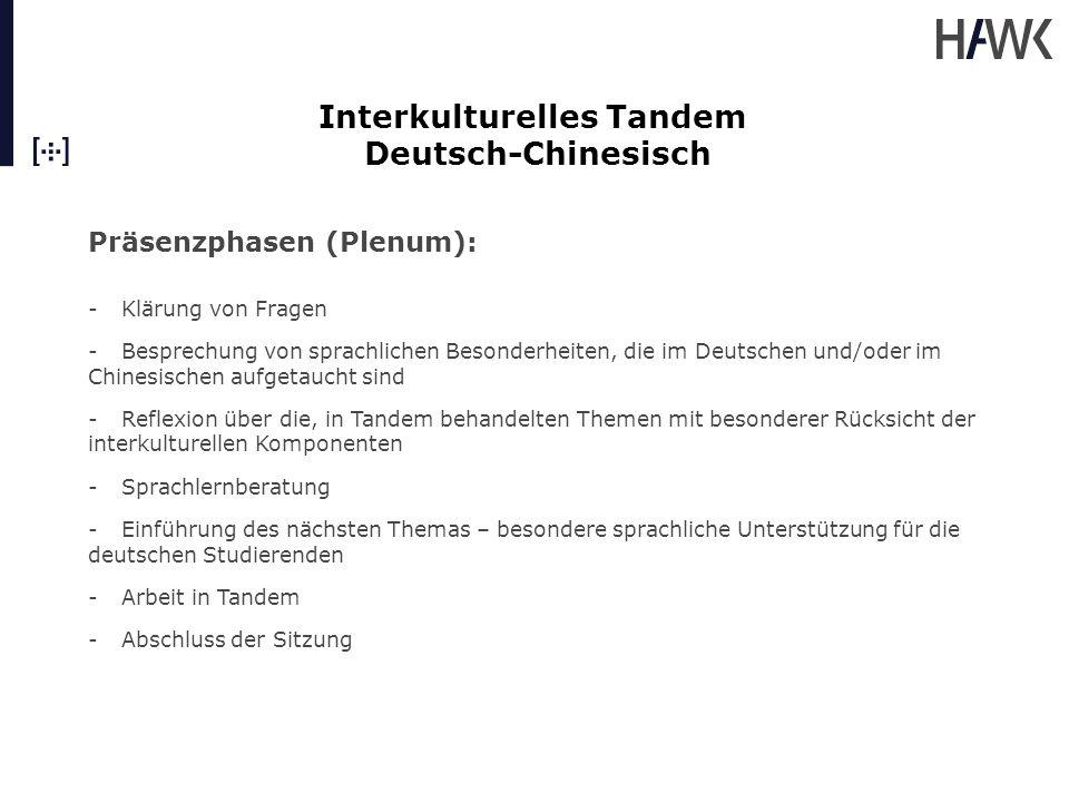 Interkulturelles Tandem Deutsch-Chinesisch