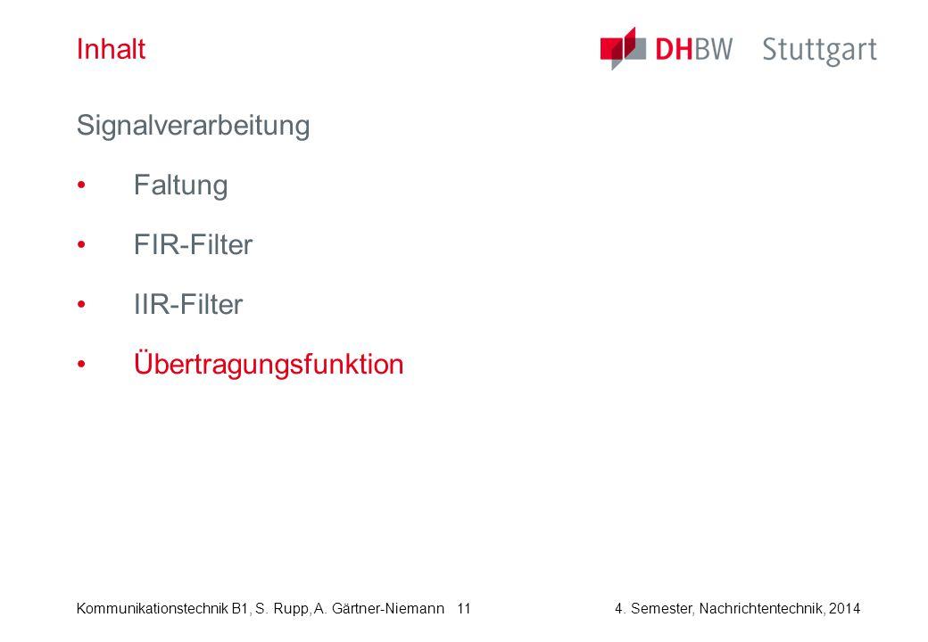 Inhalt Signalverarbeitung Faltung FIR-Filter IIR-Filter Übertragungsfunktion