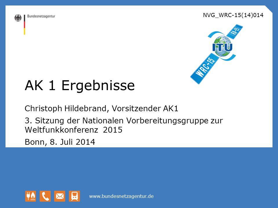 AK 1 Ergebnisse Christoph Hildebrand, Vorsitzender AK1
