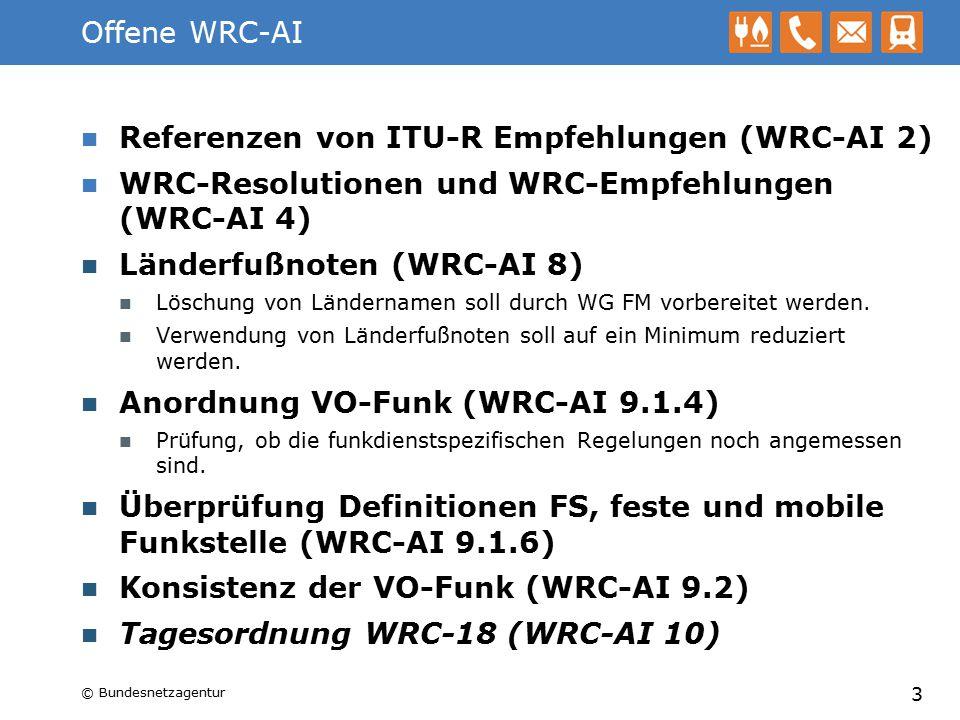 Referenzen von ITU-R Empfehlungen (WRC-AI 2)