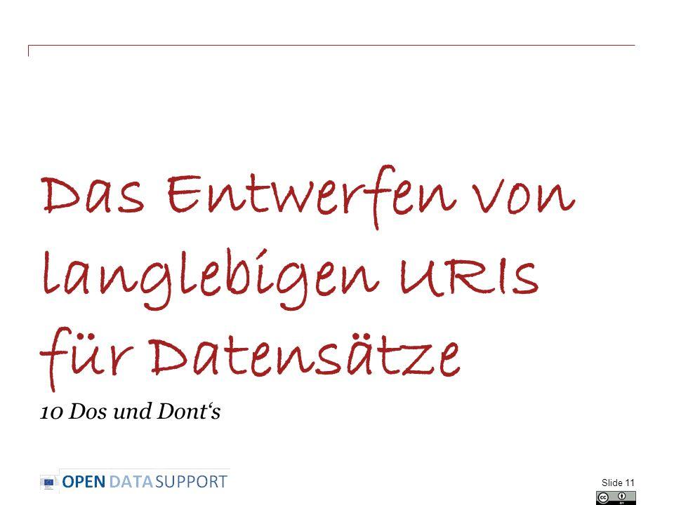 Das Entwerfen von langlebigen URIs für Datensätze 10 Dos und Dont's