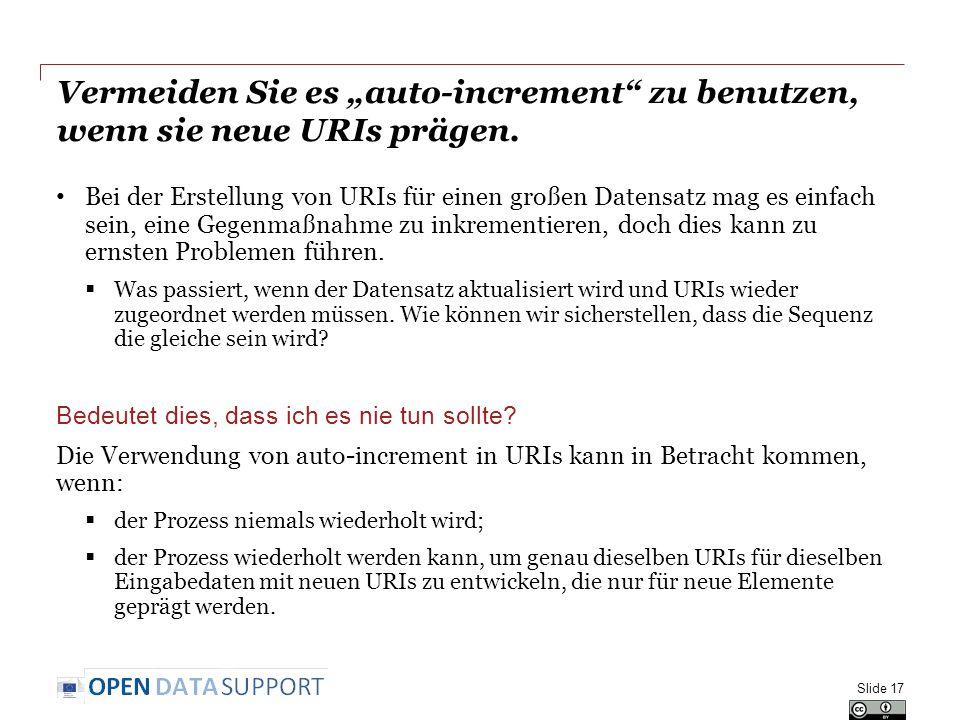 """Vermeiden Sie es """"auto-increment zu benutzen, wenn sie neue URIs prägen."""