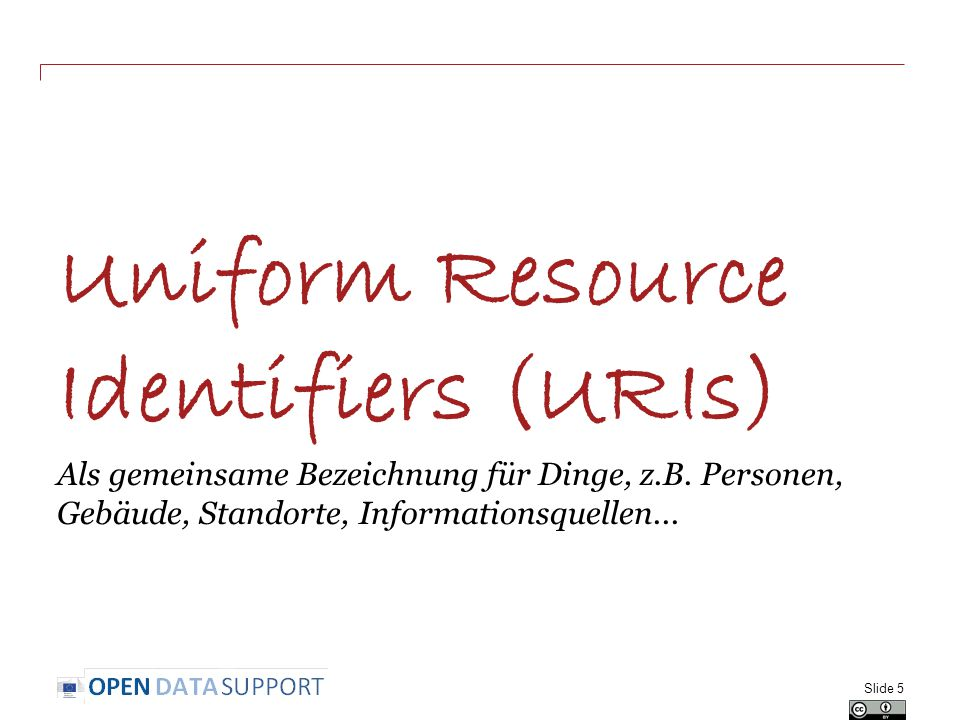 Uniform Resource Identifiers (URIs) Als gemeinsame Bezeichnung für Dinge, z.B.