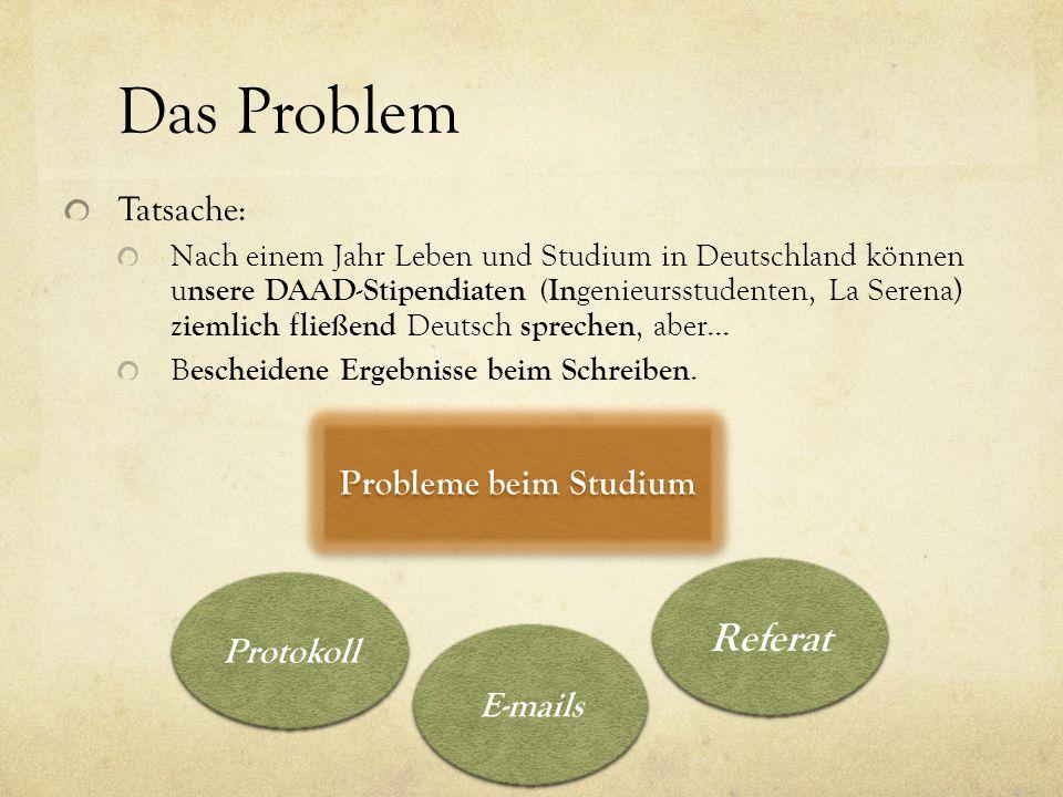 Das Problem Referat Tatsache: Probleme beim Studium Protokoll E-mails