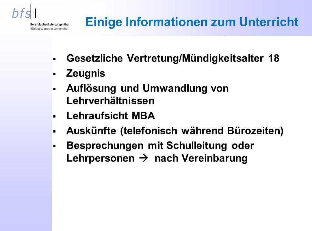 Einige Informationen zum Unterricht