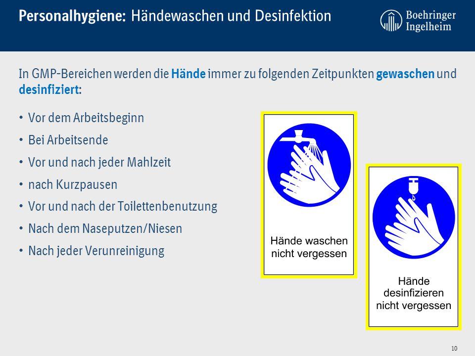 Personalhygiene: Händewaschen und Desinfektion