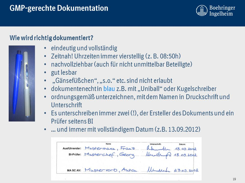 GMP-gerechte Dokumentation