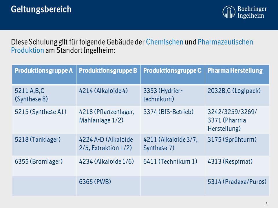 Geltungsbereich Diese Schulung gilt für folgende Gebäude der Chemischen und Pharmazeutischen Produktion am Standort Ingelheim: