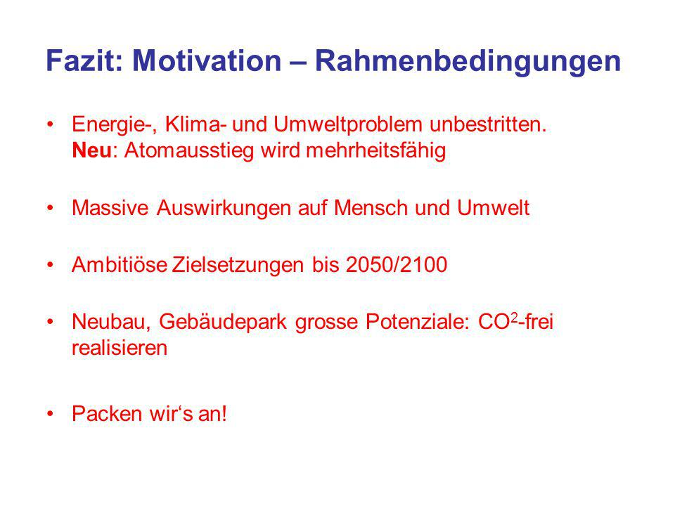 Fazit: Motivation – Rahmenbedingungen