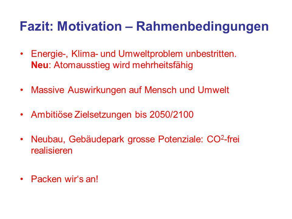 Fazit: Motivation – Rahmenbedingungen