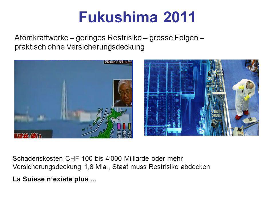 Fukushima 2011 Atomkraftwerke – geringes Restrisiko – grosse Folgen – praktisch ohne Versicherungsdeckung.