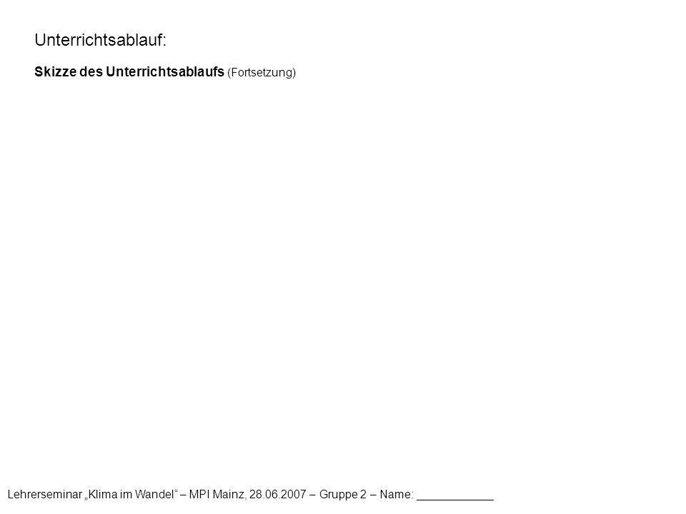 Unterrichtsablauf: Skizze des Unterrichtsablaufs (Fortsetzung)