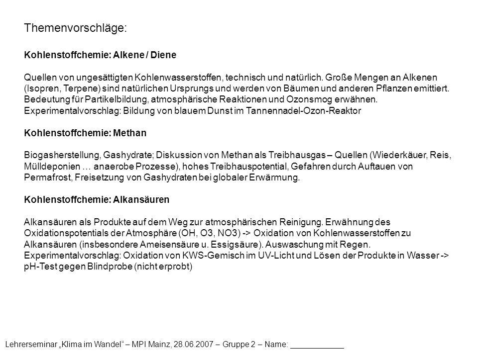 Themenvorschläge: Kohlenstoffchemie: Alkene / Diene