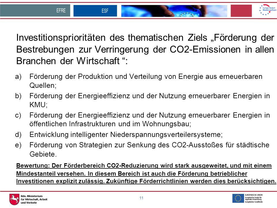 """Investitionsprioritäten des thematischen Ziels """"Förderung der Bestrebungen zur Verringerung der CO2-Emissionen in allen Branchen der Wirtschaft :"""