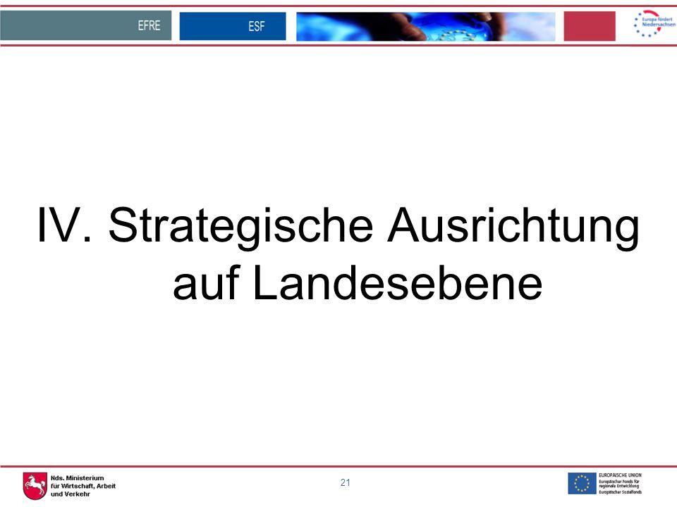 IV. Strategische Ausrichtung auf Landesebene