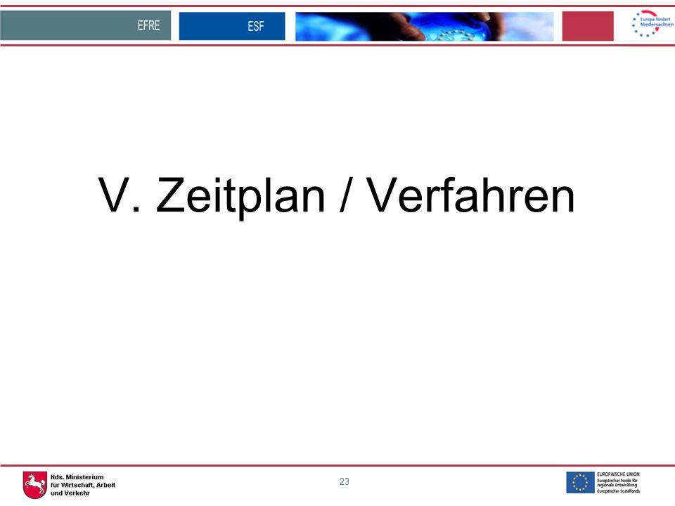 V. Zeitplan / Verfahren 23 23