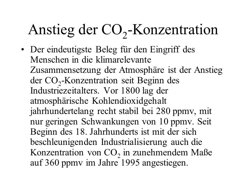 Anstieg der CO2-Konzentration