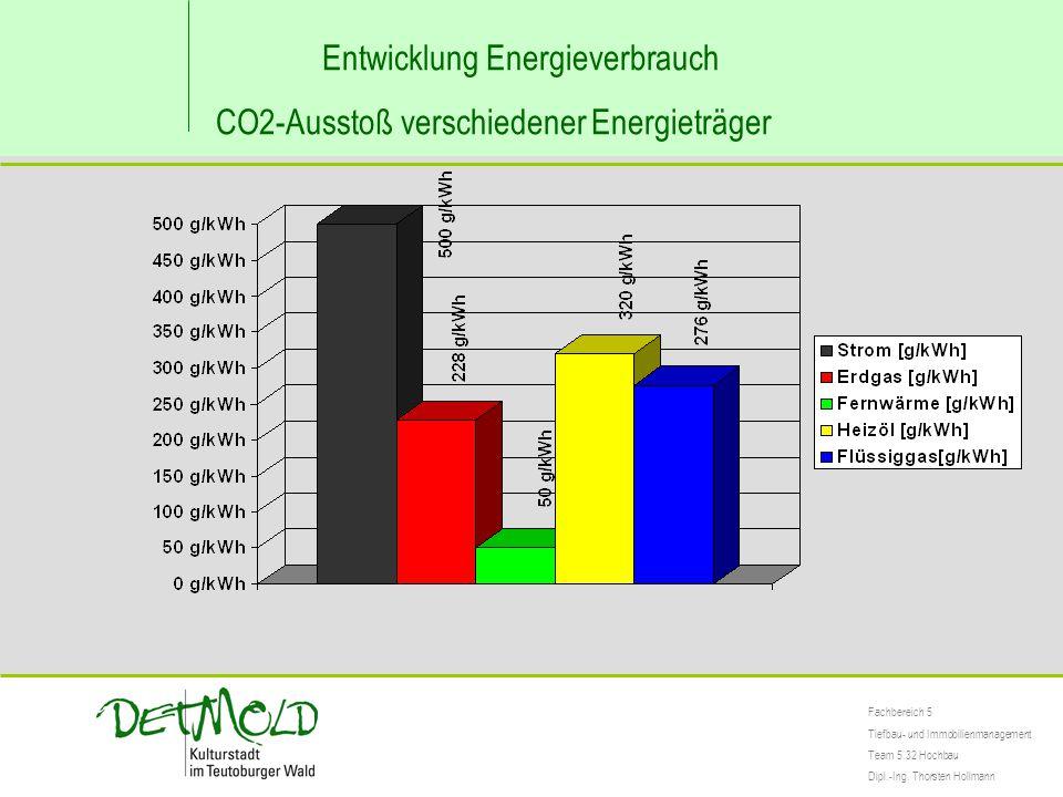 Entwicklung Energieverbrauch CO2-Ausstoß verschiedener Energieträger