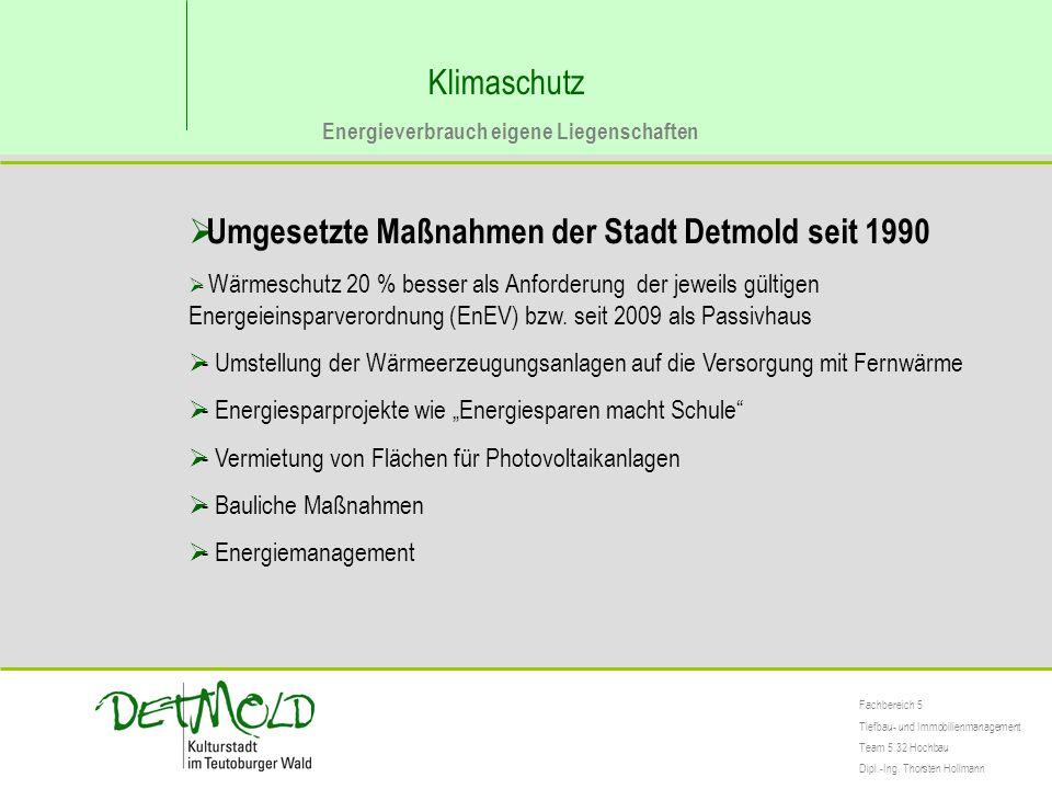 Umgesetzte Maßnahmen der Stadt Detmold seit 1990