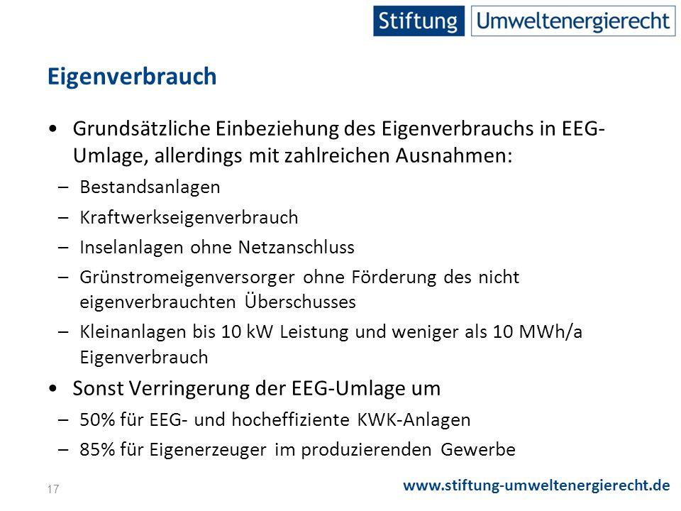 Eigenverbrauch Grundsätzliche Einbeziehung des Eigenverbrauchs in EEG-Umlage, allerdings mit zahlreichen Ausnahmen: