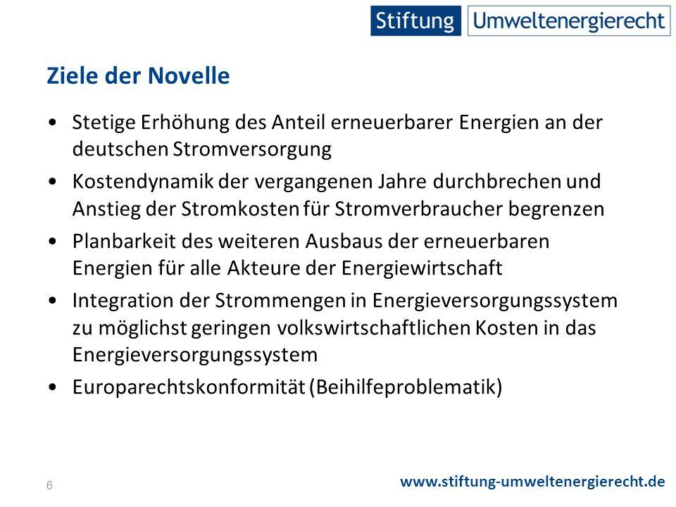 Ziele der Novelle Stetige Erhöhung des Anteil erneuerbarer Energien an der deutschen Stromversorgung.