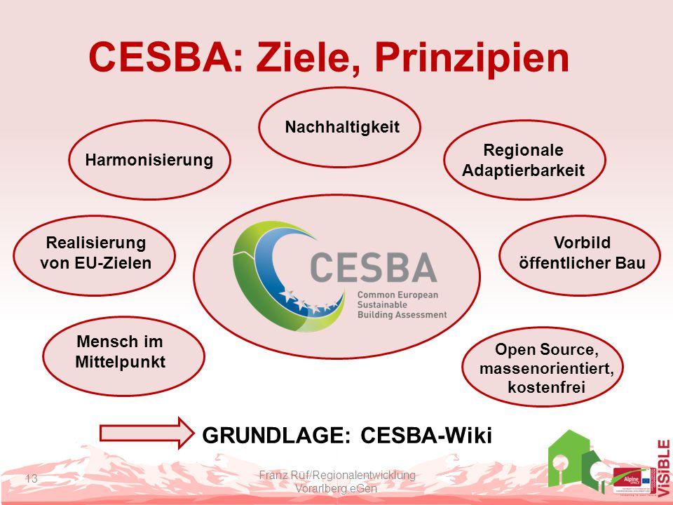 CESBA: Ziele, Prinzipien